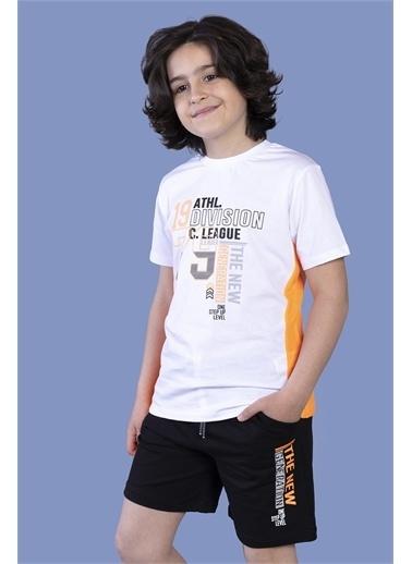 Toontoy Kids Toontoy Erkek Çocuk Garni Detaylı Baskılı Şortlu Takım Beyaz